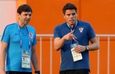 Огнен Вукоевич (справа) во время тренировки сборной Хорватии в Нижнем Новгороде